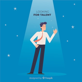 Golvende mens die talentachtergrond kijkt