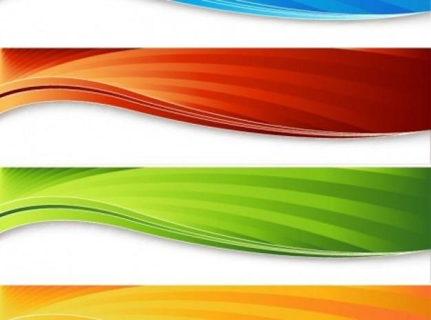 Golvende strepen kleurrijke banners vector