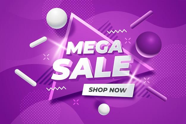 Golvende violette achtergrond met 3d-elementen verkoop concept