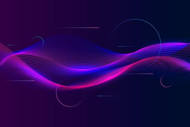 Golvende violette en blauwe curvy schaduwen als achtergrond