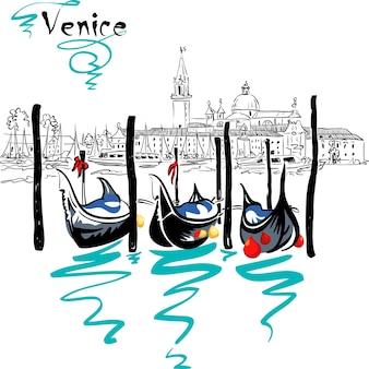 Gondels afgemeerd door het san marcoplein met de kerk san giorgio di maggiore op de achtergrond in de lagune van venetië, italia.