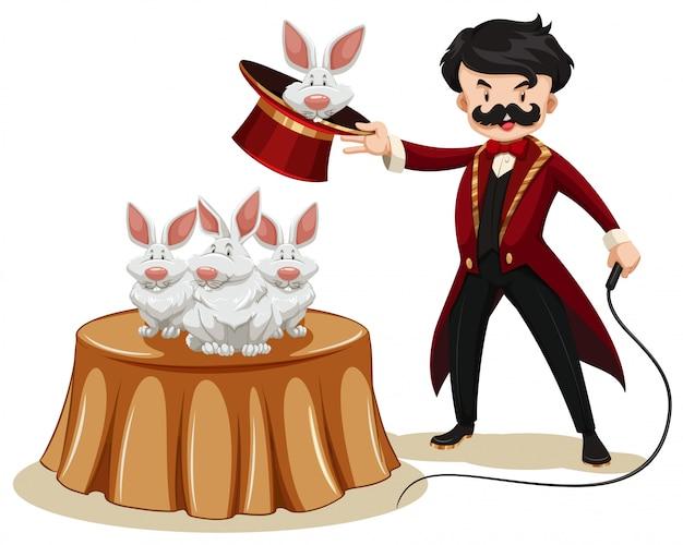 Goochelaar en konijnen op de show
