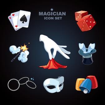 Goochelaar grappige grote cartoon pictogrammen pack