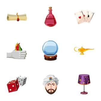 Goochelaar iconen set, cartoon stijl