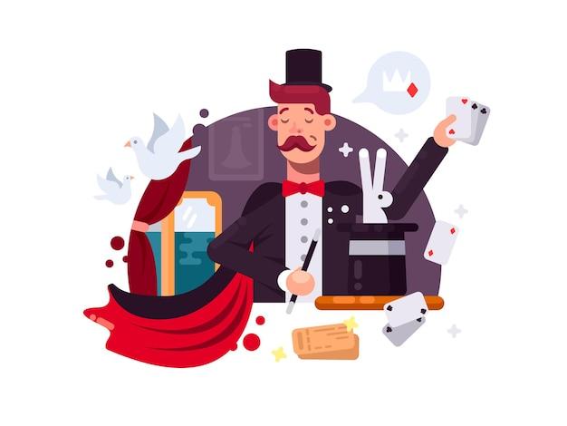 Goochelaar in cilinder en mantel voert trucs uit met kaarten en dieren. vector illustratie