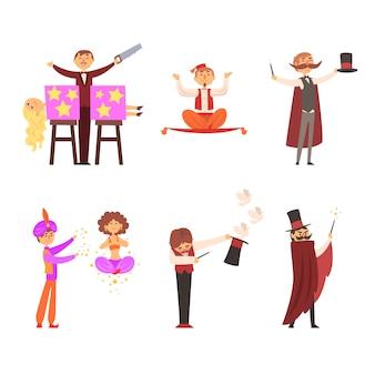 Goochelaar in het circus toont goocheltrucs goocheltrucs illustratie