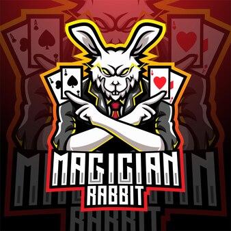 Goochelaar konijn esport mascotte logo ontwerp