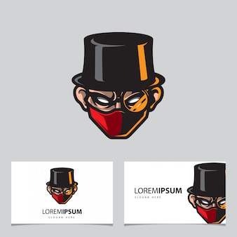 Goochelaar mascotte logo, naam kaartsjabloon
