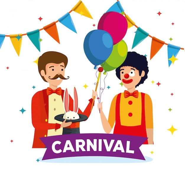 Goochelaar met konijn in hoed en clownkostuum met ballonnen
