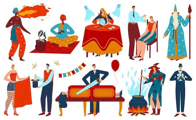 Goochelaar tovenaar mensen vector illustratie set. magische karaktersverzameling van oude magiër, heks die magische toverdrank kookt