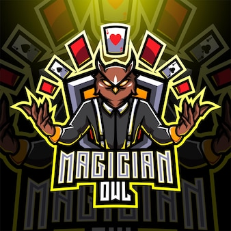 Goochelaar uil esport mascotte logo ontwerp