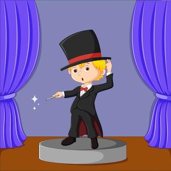 Goochelaar uitvoeren op een podium illustratie