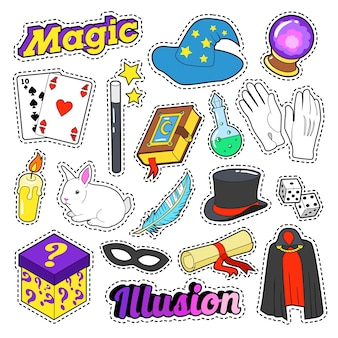 Goochelaarelementen instellen met toverstaf, masker en cilinder voor stickers, insignes. vector doodle