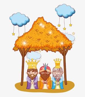 Goochelaars drie koningen dragen kroon en kribbe