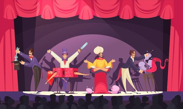Goochelaars en djinn die optreden op het circuspodium voor een cartoon van het publiek