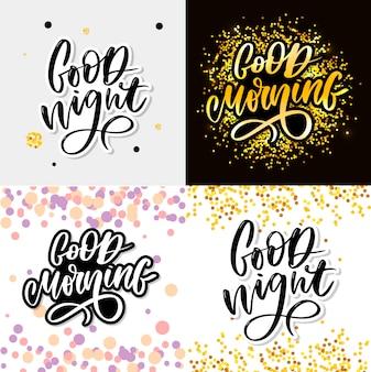 Good night en goedemorgen typografie belettering