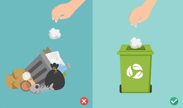 Gooi geen afvalbakken op de grond, met de verkeerde en de juiste afbeelding