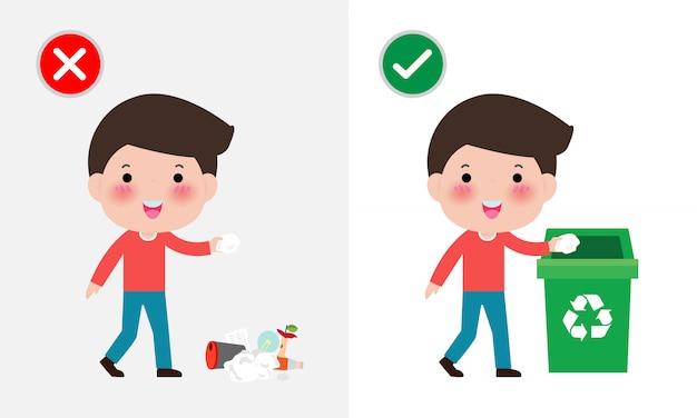 Gooi geen strooisel op de vloer, verkeerd en goed, mannelijk karakter dat u het juiste gedrag vertelt om te recyclen.