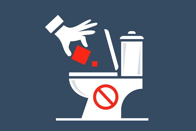 Gooi huisvuil in het toilet. platte vectorillustratie.
