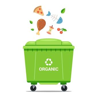 Gooi organisch afval in een grote groene vuilnisbak. platte vectorillustratie.