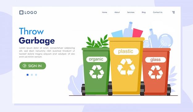 Gooi vuilnis bestemmingspagina website illustratie