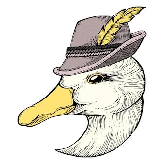 Goose ink-tekening