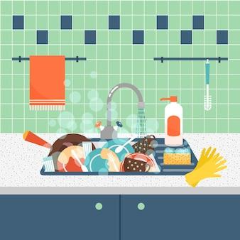 Gootsteen met vuil keukengerei en serviesgoed. rommel en gootsteen, vuil en keukengerei, spons wassen.