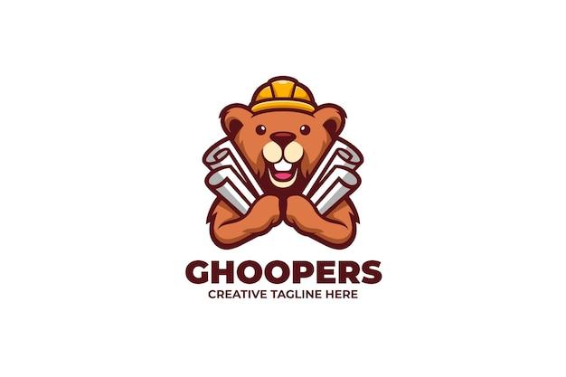 Gopher reparatie service cartoon mascotte logo