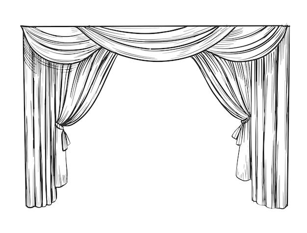 Gordijn illustratie. hand getrokken schets.