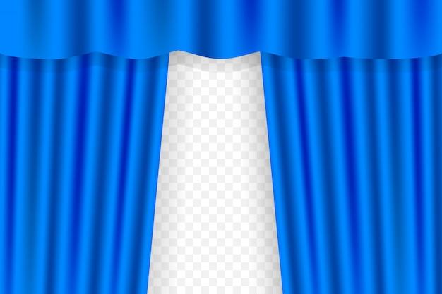 Gordijnen met blauwe gordijnen voor opera, bioscoop of theater. illustratie.
