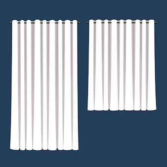 Gordijnen met witte gordijnen in vlakke stijl