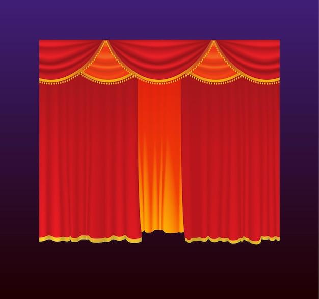 Gordijnen - realistische vector rode gordijnen. achtergrond met kleurovergang. clip-art van hoge kwaliteit voor presentaties, banners en flyers, met afbeeldingen van films, concerten en prijsuitreikingen.