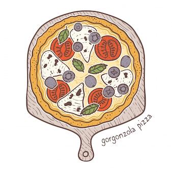 Gorgonzola pizza, schetsen illustratie