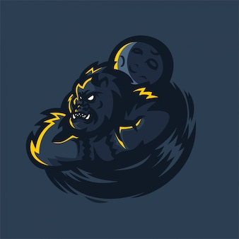 Gorilla esport gaming mascotte logo sjabloon