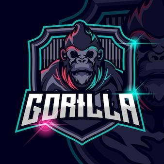 Gorilla esport logo template design vectorillustratie