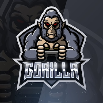 Gorilla game player mascotte sport illustratie