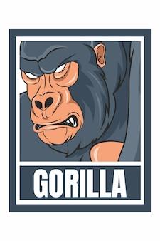 Gorilla gezicht ontwerp frame illustratie geïsoleerd