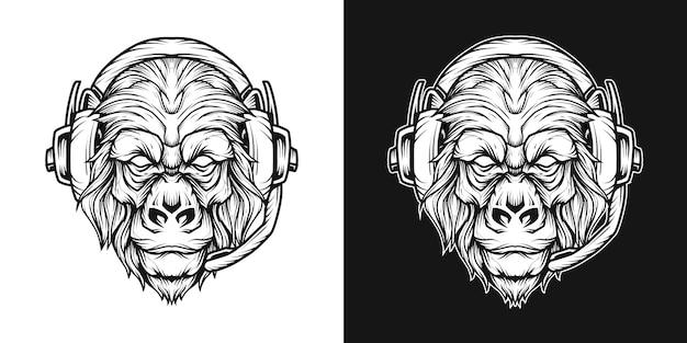 Gorilla headset head logo line art