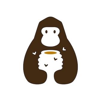 Gorilla honing bijenkorf bij negatieve ruimte logo vector pictogram illustratie