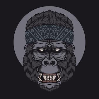 Gorilla hoofd bandana illustratie