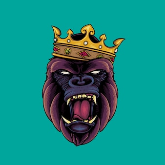Gorilla hoofd dragen kroon logo mascotte