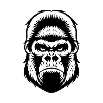 Gorilla hoofd grafische zwart-witte illustratie