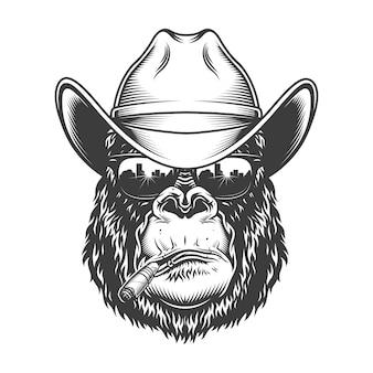 Gorilla hoofd in zwart-wit stijl
