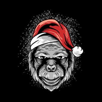 Gorilla hoofd kerst illustratie