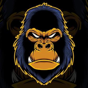 Gorilla hoofd mascotte illustratie