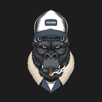 Gorilla hoofd vrachtwagenchauffeur