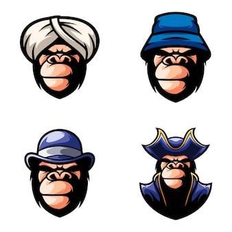 Gorilla hoofdbundel mascotte