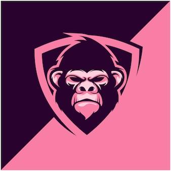 Gorilla hoofdlogo voor sport- of esportteam.