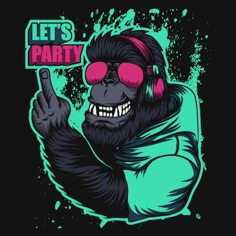 Gorilla hoofdtelefoonpartij