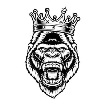 Gorilla in een kroon op wit wordt geïsoleerd